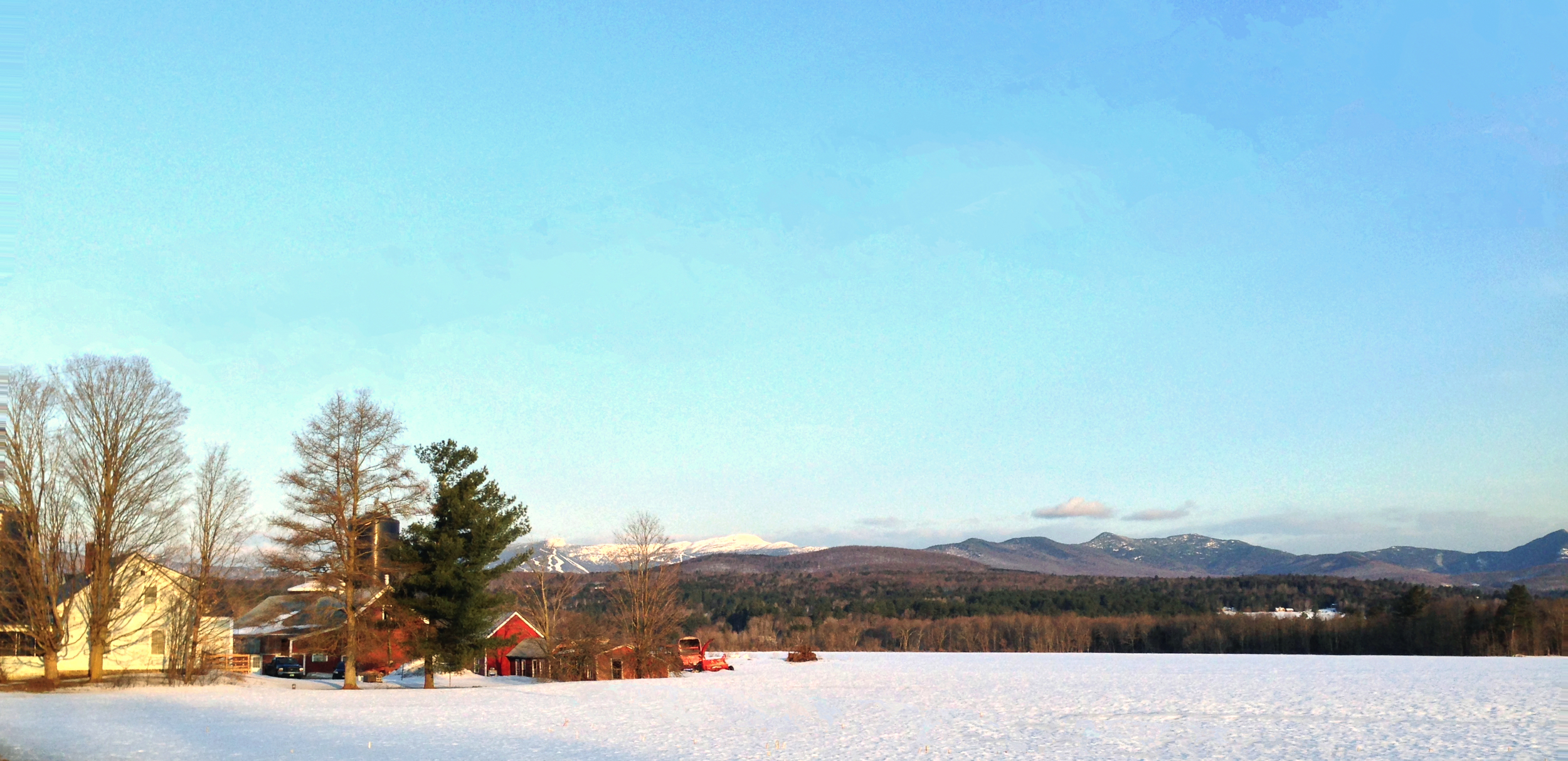 Mt. Mansfield and Stowe Mountain Resort from Route 100 north of Stowe Village