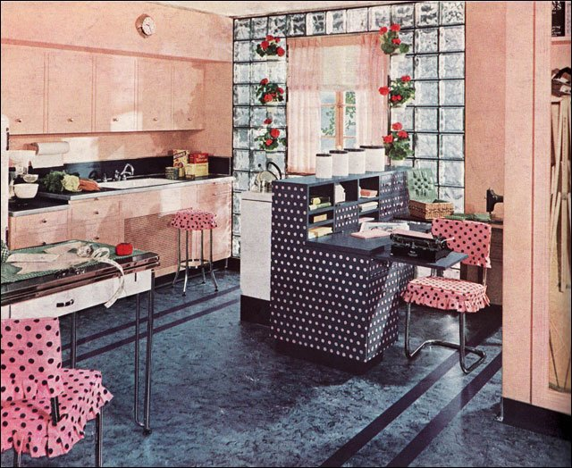1940 Armstrong advertisement for linoleum, courtesy of Mid Century Home Style. This feminine and multi-tasking kitchen featured matching appliances, cabinetry and a home office for the woman of the house.