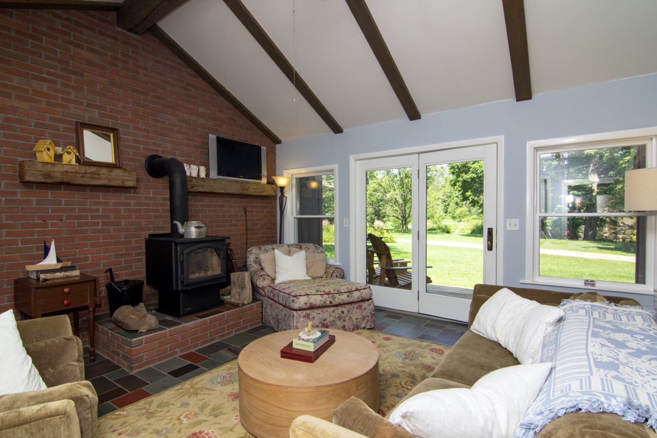Living Room with a Wood Stove