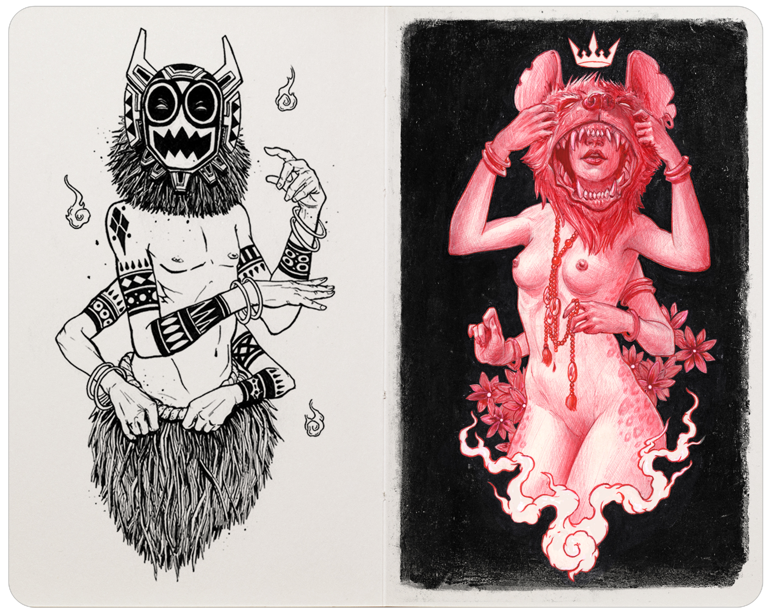 Left: Brush pen. Right: Red ballpoint pen, white ink & dry brush.