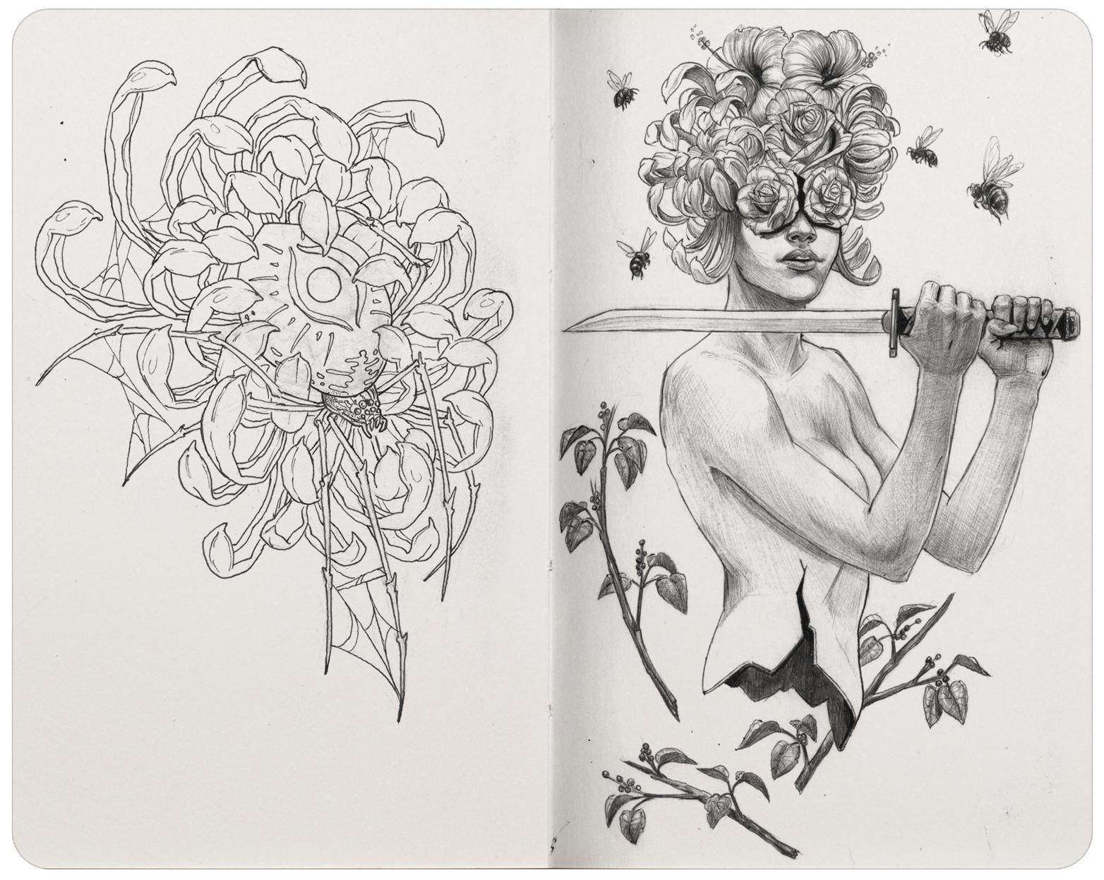 Left: Pigma Micron pen. Right: Ballpoint pen.