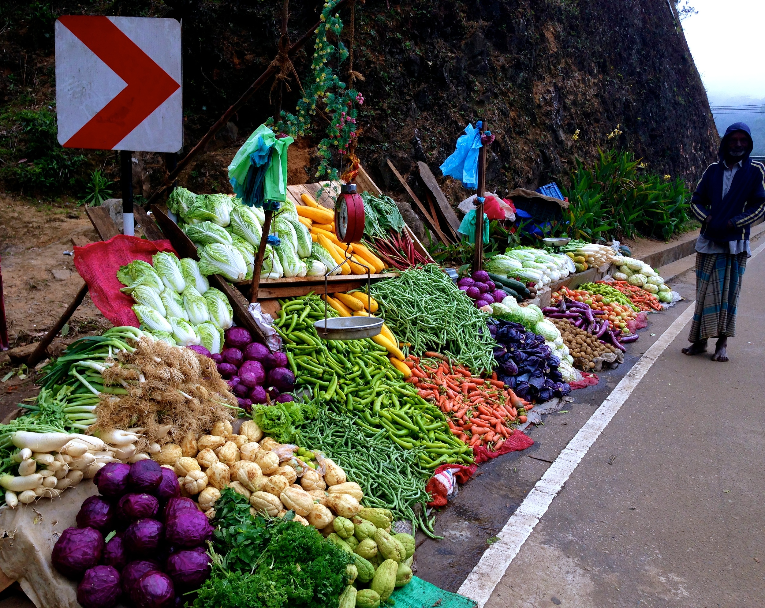 Rainbow of veggies on the road to Kandy