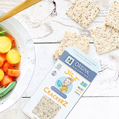 Jilz Gluten Free Crackerz - Gluten-free and paleo, these crackers are crunchy, delicious and full of protein and healthy fats from nuts and seeds. Dip them in hummus, guacamole, pate or serve them alongside soups or anywhere you want to add some crunch.
