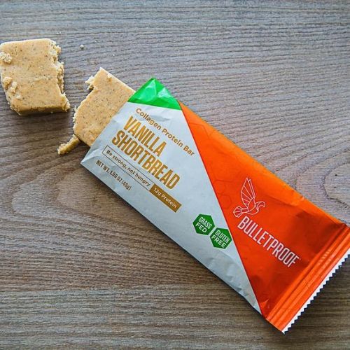bulletproof collagen protein bar - Collagen protein (12g) from grass-fed cows, quality fat from Brain Octane oil and super low in sugar (2g), these gluten free bars are a fantastic snack and seriously yummy. They come in delicious flavors like café latte, chocolate chip cookie dough, lemon cookie, fudge brownie and – my favorite – vanilla shortbread. I always have one of these bars in my car, purse, ski jacket pocket, carry on luggage, etc…just in case!