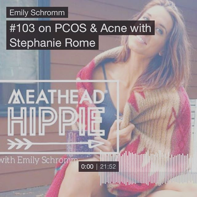 Hey friends! If you're dealing with symptoms of PCOS like acne, have a listen to my chat with @emilyschromm on the Meathead Hippie podcast! We talk about a natural approach for managing PCOS and its associated symptoms using nutrition, supplementation and lifestyle modifications. The episode (#103) is only 20 minutes long so definitely worth tuning in if you've recently been diagnosed or are struggling with figuring out your root cause/best treatment plan! Listen on iTunes, Stitcher or Spotify. Here's the link - https://emilyschromm.com/blog/meathead-hippie-podcast-103-pcos-and-acne-stephanie-rome