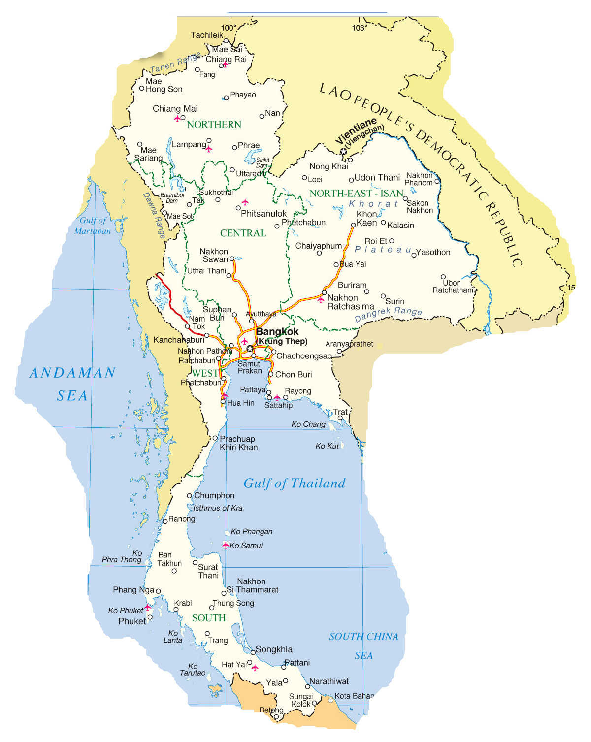 Map of Thailand, showing north-eastern part of Isan