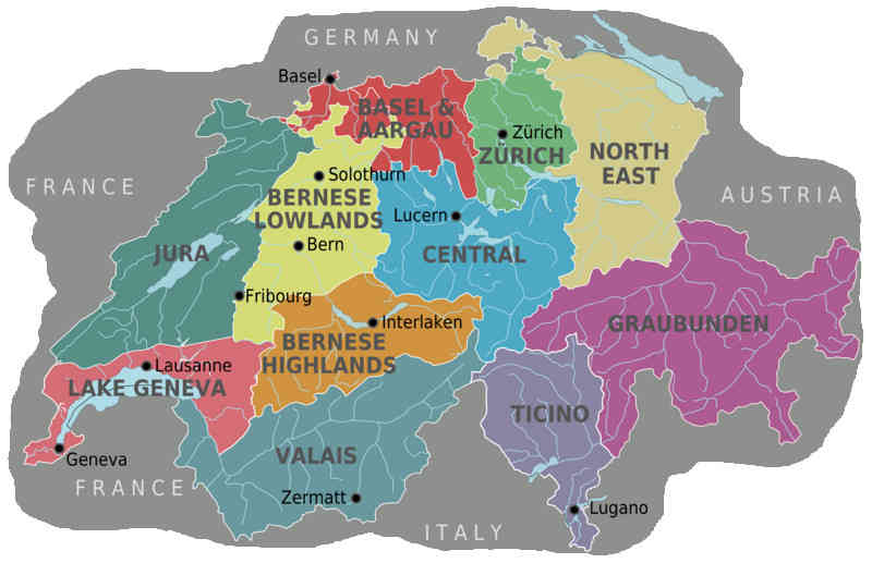Map of Switzerland showing various cantons. The southern canton of Ticino, neighbouring Italy, will hold the referendum to ban burqas in public places on September 22. Credit: Stefan Ertmann         Source: http://en.wikipedia.org/wiki/File:Suisse_cantons.svg