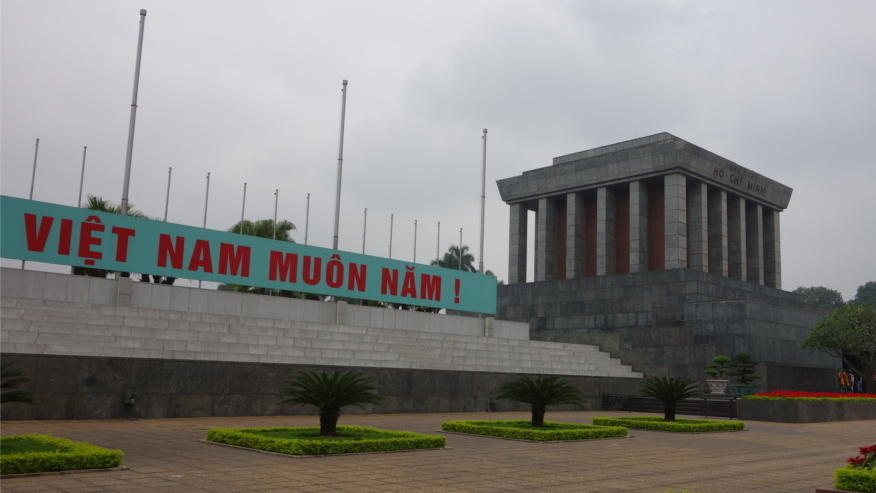 Ho Chi Minh's mausoleum in Ho Chi Minh city is where the embalmbed body of Ho Chi Minh is kept, protected by four armed guards at four corners. There's a very strict code of conduct that everyone must follow. People wait in long queues everyday to pay their respects to the father of nation.