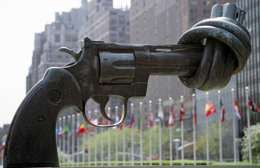 Non-Violence, Karl Fredrik Reutersward's sculpture, outside UN Headquarters in New York    Courtesy: UN