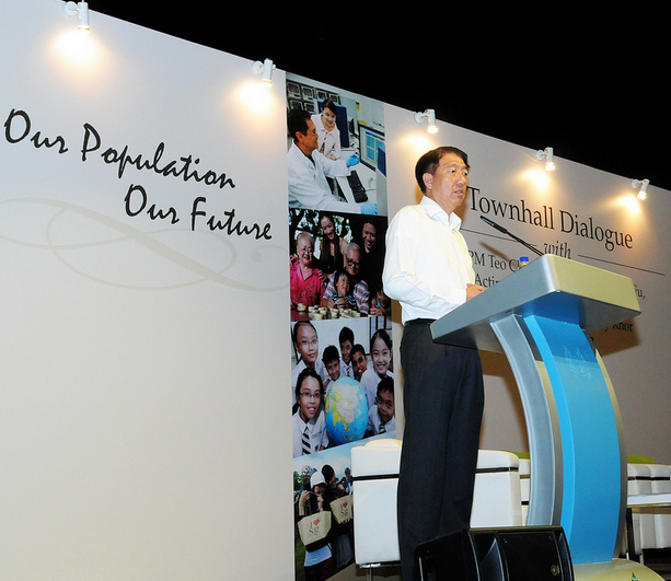 Teo addressing a town-hall dialogue, Courtesy: National Population and Talent Division, Prime Minister's Office
