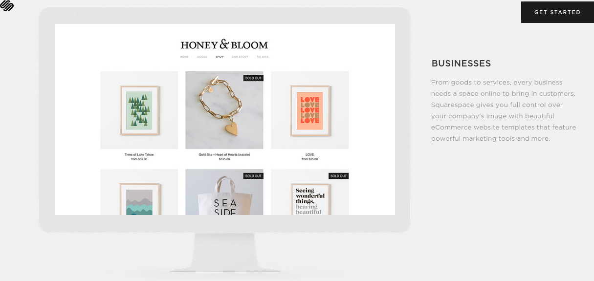Home page of  Squarespace  - a popular website building or content management system