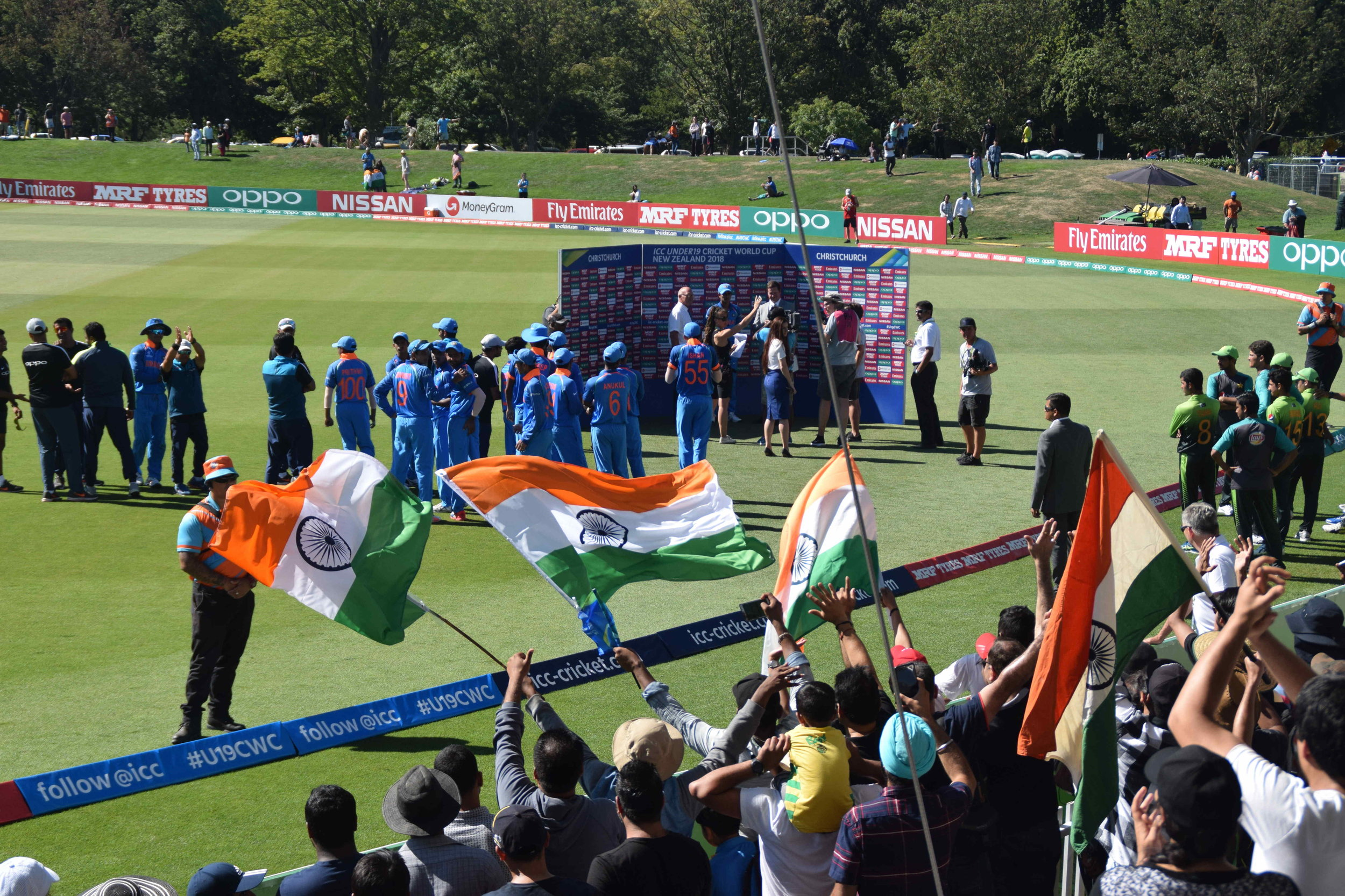 Indian flag flew high in Christchurch on Tuesday as India beat Pakistan by 203 runs to storm into the Under19s Cricket World Cup to set up a summit clash with Australia on Saturday
