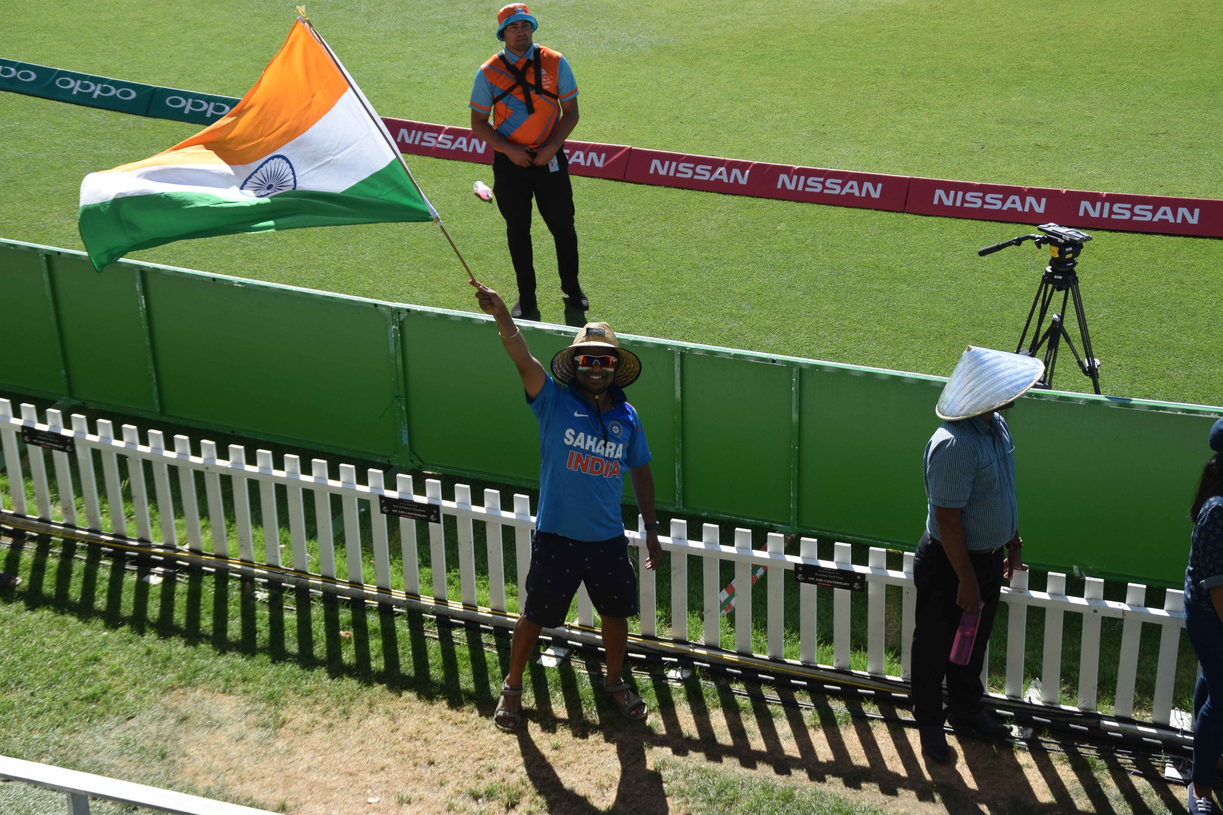 My joy knows no bound! A decent - and colourful - crowd gathered at Hagley Oval to see the clash of the Asian titans