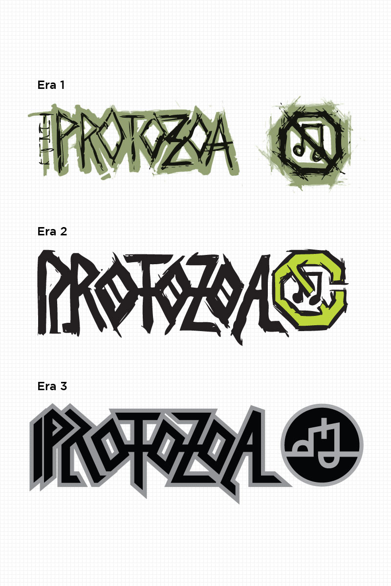 """Branding for the fictional brand """"Protozoa"""" following them from garage band to a major touring act."""