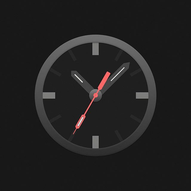 Quick experiment with a dark mode clock based off the Nite Hawk watch. ⠀⠀⠀⠀⠀⠀⠀⠀⠀⠀⠀⠀ #time #watch #app #icon #design