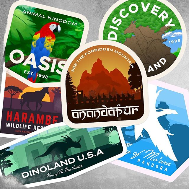 Happy birthday to @waltdisneyworld's Animal Kingdom! Here are some travel stickers I cooked up for the 20th anniversary last year. Swipe to see some close-ups of the whole set. I'm aiming to revisit these at some point and make some more for the rest of the park. Thanks to @joerohde and the rest of the team for all the amazing work on this park. It's a master class in immersive, thematic design. ⠀⠀⠀⠀⠀⠀⠀⠀⠀⠀⠀⠀ #Disney #AnimalKingdom #badge #badgehunting