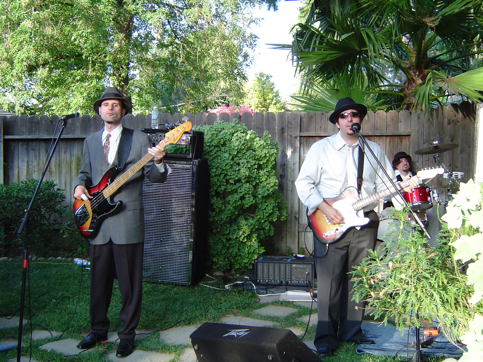 The band in a backyard