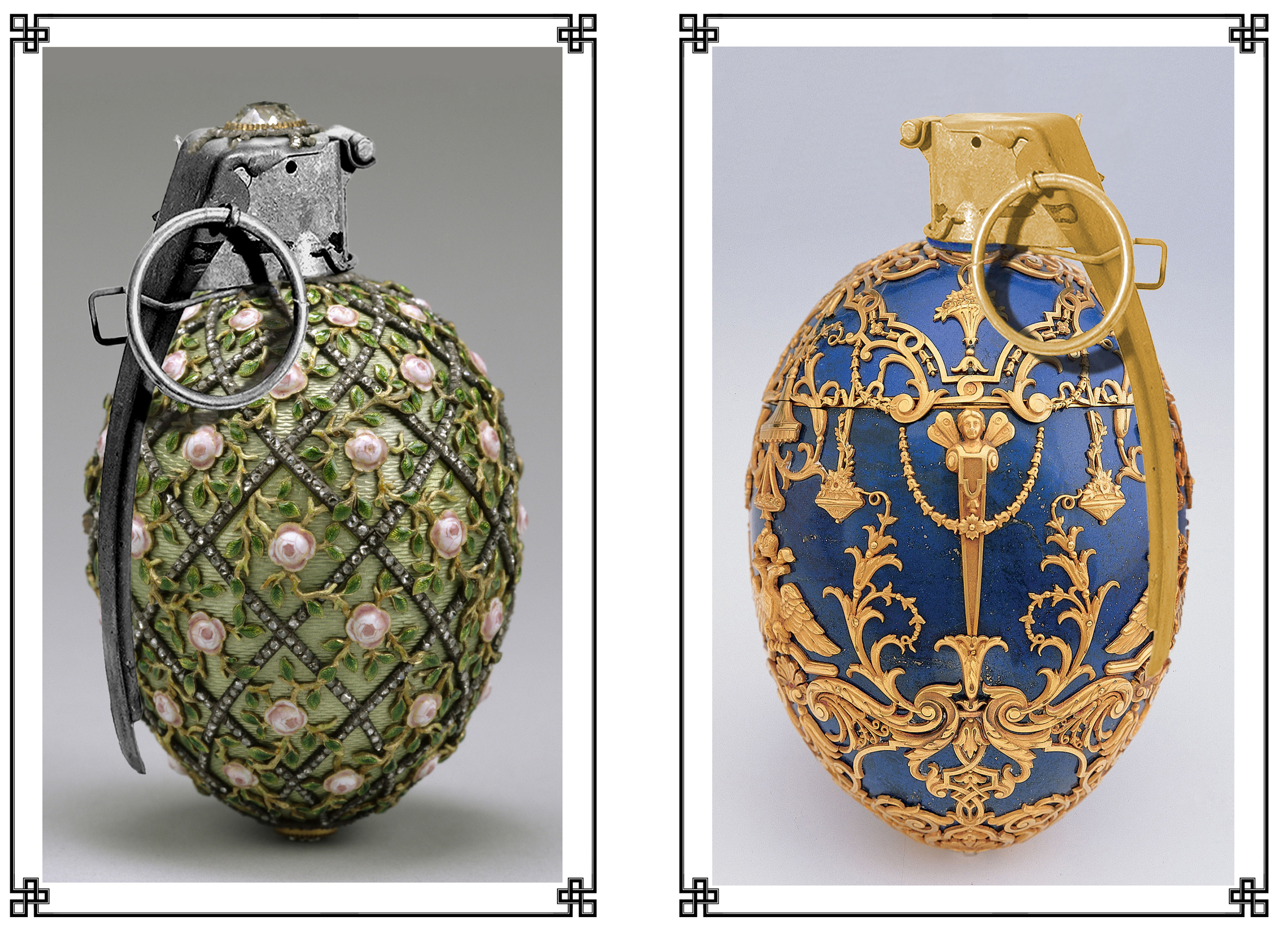 Working by special appointment, the House of Fabergé supplied a variety of ordinance for the Tsar's personal elite Lieb-Gvardia {Life-Guards} regiments. These hand grenades, while commonly lethal, also ensured a generous pension for anybody who survived an encounter with them in combat, provided said survivor retained sufficient presence of mind to request any extracted shrapnel from the attending surgeons. This no doubt accounts to no small extent for the zeal with which revolutionary fighters laid siege to Romanoff palaces during the uprisings of the early 20th Century.
