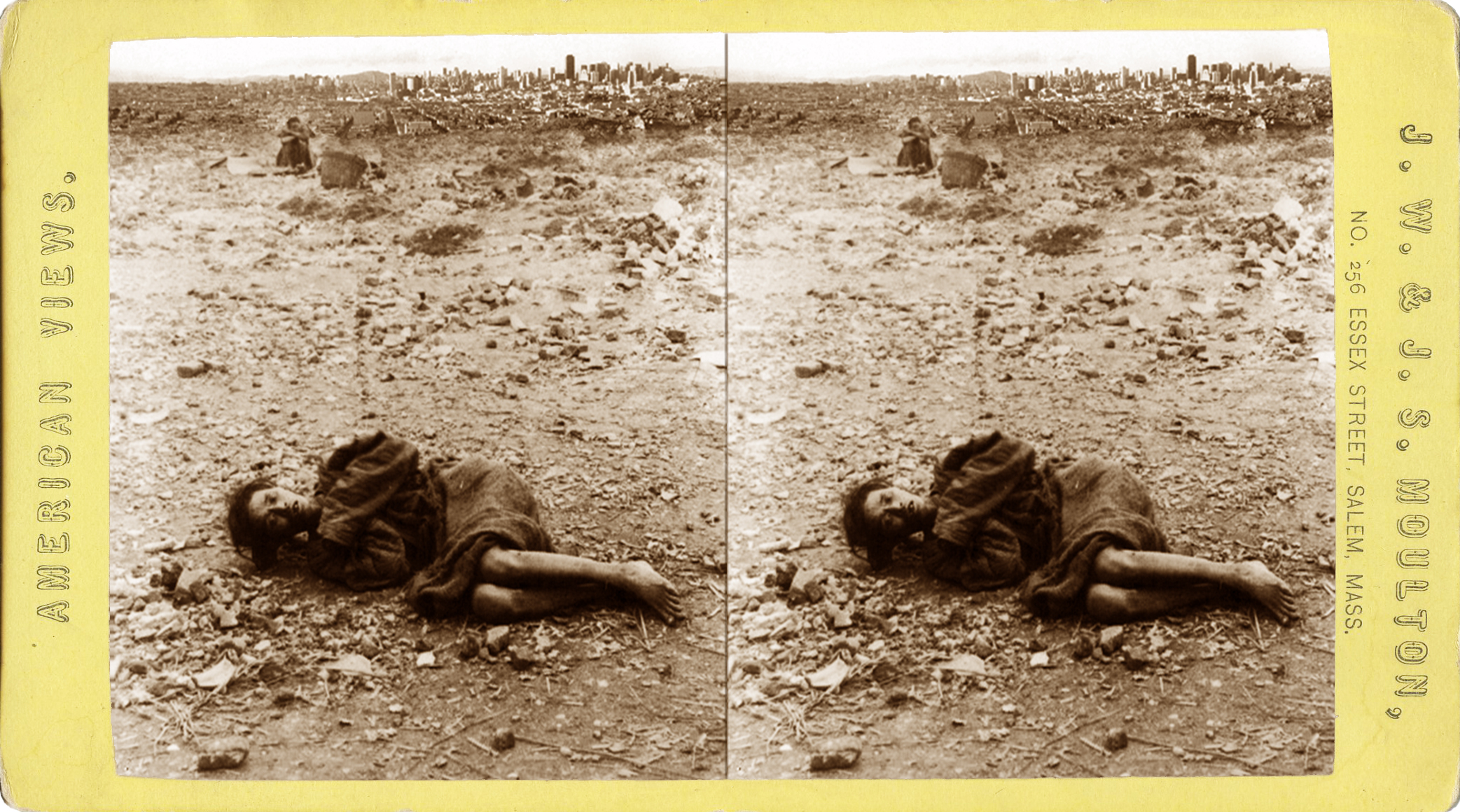 "This stereoscopic card, entitled ""Dying in the 'Dying Field,' where discouraged poor are proffered the opportunity to die, San Francisco, California "", bears upon its reverse a typically purpled and, thus, sales-garnering expanded description: ""While people of other nationalities have places set apart for the poor to be buried in, the United States of America goes a little further in providing, for a small fee, a spot on which to die. The particular spot depicted here is just outside the financial quarter of San Francisco where, surrounded by a wall of studied disregard, is a small tract of waste land specially designated for poverty stricken wretches to visit in their last hours. Instead of sheltering the destitute poor, the Americans content themselves with renting a last refuge to the ""creatively destroyed"", and here one may often see the poor and helpless creatures writhing in the grip of the invisible hand as they gasp their last mortal agony. The scene illustrates the sophistic brutality of the Americans, who have an inadequate conception of the solemnity of death and are, or seem to be, utterly destitute of the finer feelings of humanity.""     Normal   0           false   false   false     EN-US   X-NONE   X-NONE                                                                                                                                                                                                                                                                                                                                                                    /* Style Definitions */  table.MsoNormalTable 	{mso-style-name:""Table Normal""; 	mso-tstyle-rowband-size:0; 	mso-tstyle-colband-size:0; 	mso-style-noshow:yes; 	mso-style-priority:99; 	mso-style-parent:""""; 	mso-padding-alt:0in 5.4pt 0in 5.4pt; 	mso-para-margin-top:0in; 	mso-para-margin-right:0in; 	mso-para-margin-bottom:10.0pt; 	mso-para-margin-left:0in; 	line-height:115%; 	mso-pagination:widow-orphan; 	font-size:12.0pt; 	font-family:""Times New Roman"",""serif"";}"
