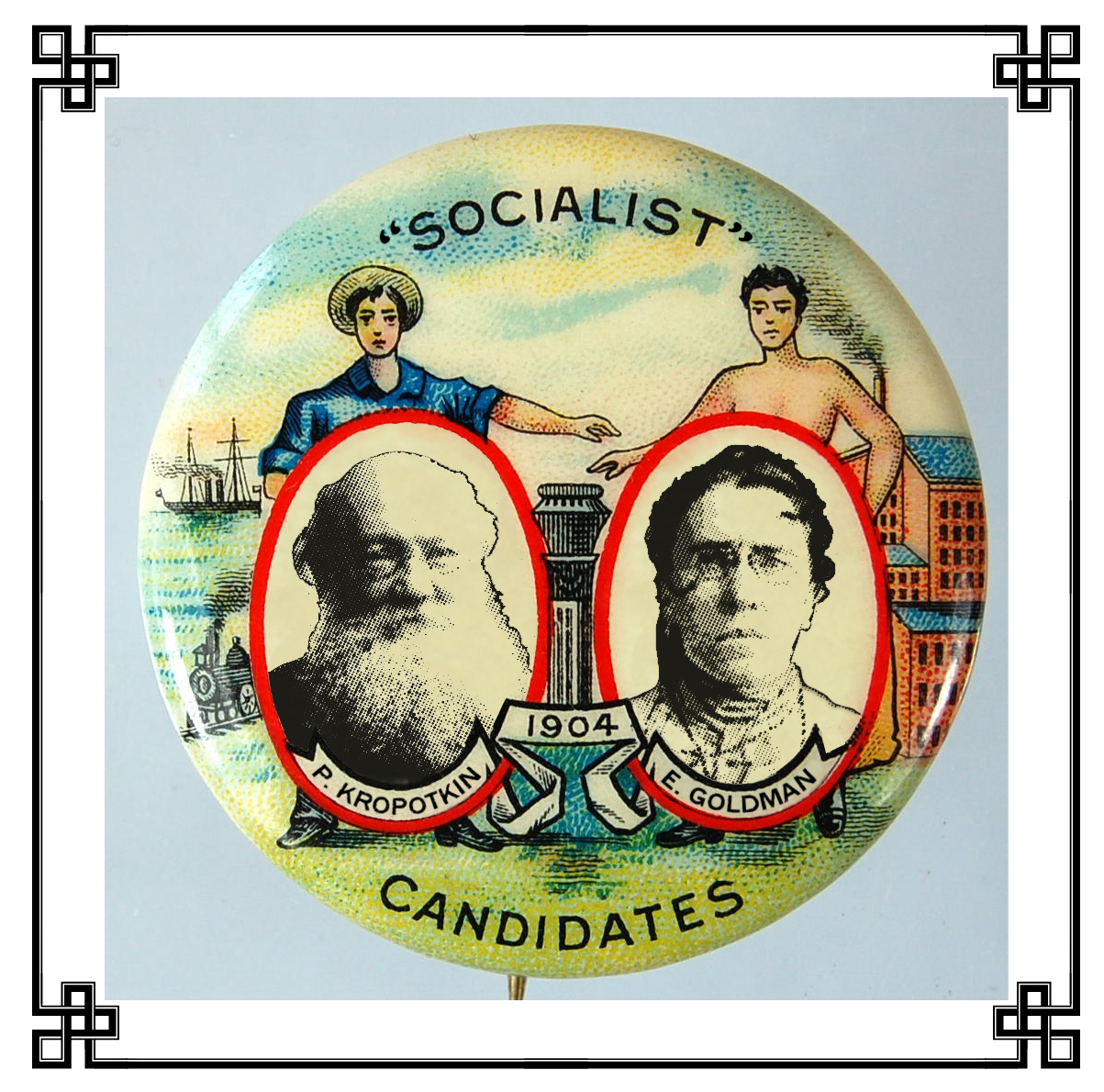 Pinback button badges such as this, no matter how ingenious their palatable understatement of the candidates' affiliation, were woefully inadequate to salvaging what proved to be the most heartbreakingly, and in retrospect lamentably, star-crossed presidential campaign in American history. Nor was the campaign aided by the fact that both candidates were almost as deeply inimical to electoral politics as they were to government in general, let alone that neither was a native-born United States citizen.