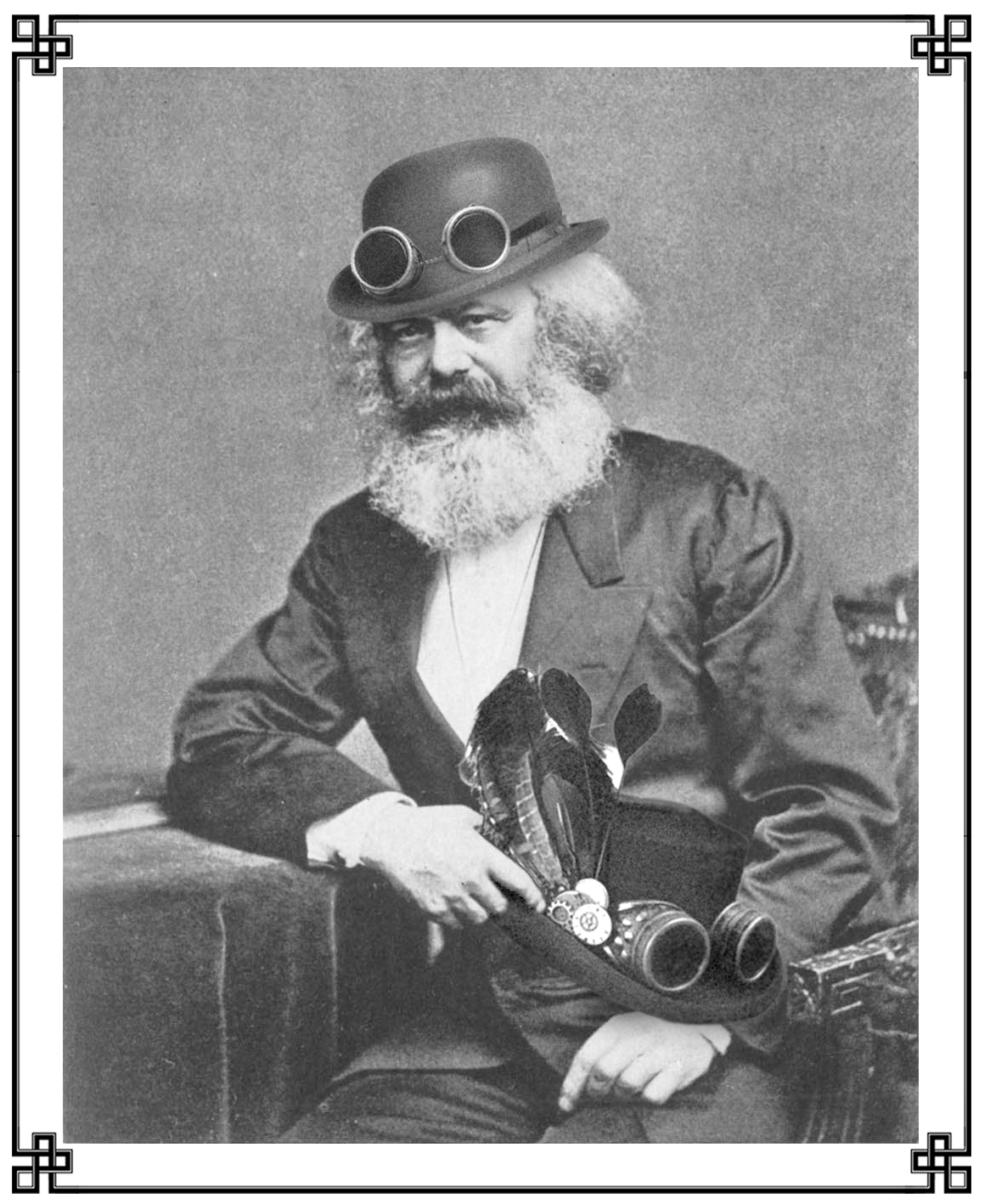 """While commonly associated in the popular imagination with the redistribution of material sustenance of all forms, Karl Marx himself was first and foremost a skilled milliner specifically concerned with the broad and equitable provision of headdress, in keeping with his compatriot Friedrich Engel's own admonition that in matters of liberation {as with anything else} """"…one can't do that, without a hat"""". Therefore, and contrary to the assertions of detractors, it cannot be emphasized sufficiently that Herr Marx distributed only the most innocent of hats, becoming ones at that, and certainly not some manner of cleverly dissembled consciousness-expanding helm that caused the wearer to perceive the presences of all manner of stubbornly hindsighted angels of history. {Somewhat less improbable are hypotheses that Herr Marx was in actuality Frederick Douglass slumming in whiteface or, alternatively, that he was of   blemmye   heritage but passing behind ingenious prosthetics and an extensive peruke.}"""