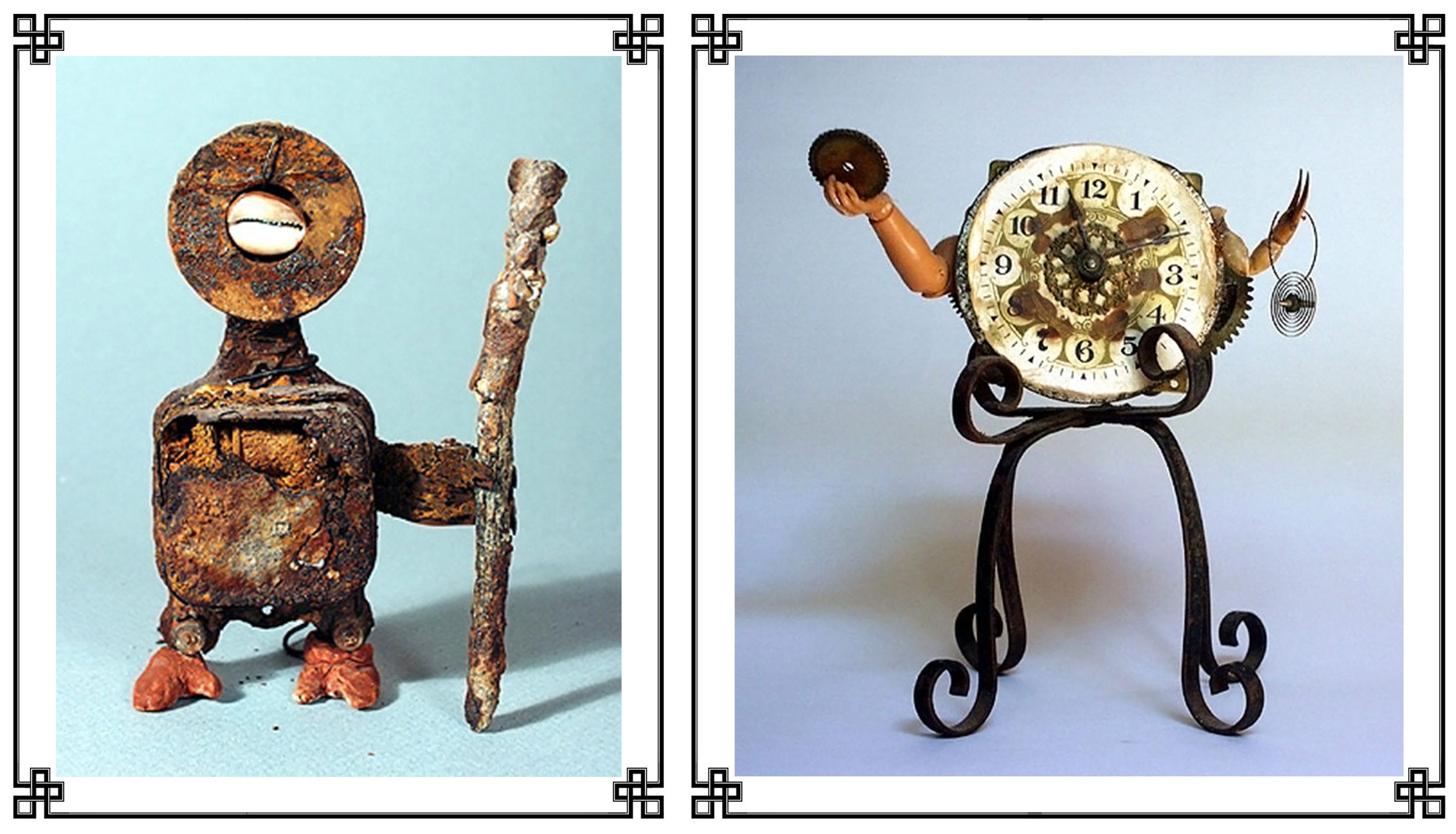 These fetishes, on gracious loan from the   Zymoglyphic Museum  , encapsulate the acute imbrication of animism and anthropomorphism long characteristic of the Zymoglyphic Region. At left, a Rust Age guardian figure in a defensive posture. As elucidated by curator Jim Q. Stewart, this figure, crumbling and exposing its mechanical innards, originally served as a protector against certain demons, but its fragility and constant state of decay have transformed it into a symbol of the futility of relying on such talismans. At right, an automaton from the subsequent Age of Wonders. Automata and other mechanical marvels were of particular interest in this time because they occupied a mysterious gray area between life and death. Although clearly made of inanimate parts, they had some semblance of life, and offered the disturbing possibility that living creatures were at heart themselves merely mechanical devices. This particular mechanical wonder was a clockwork automaton that not only told time but continuously removed pieces of itself and offered them to passersby. How the internal parts were regenerated has yet to be determined despite intensive investigation by museum staff.