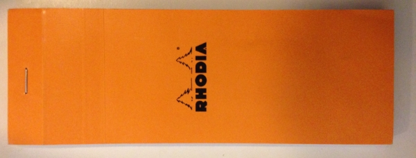 Cover of Rhodia notebook, purchased oddly dimensioned one to promote usage.