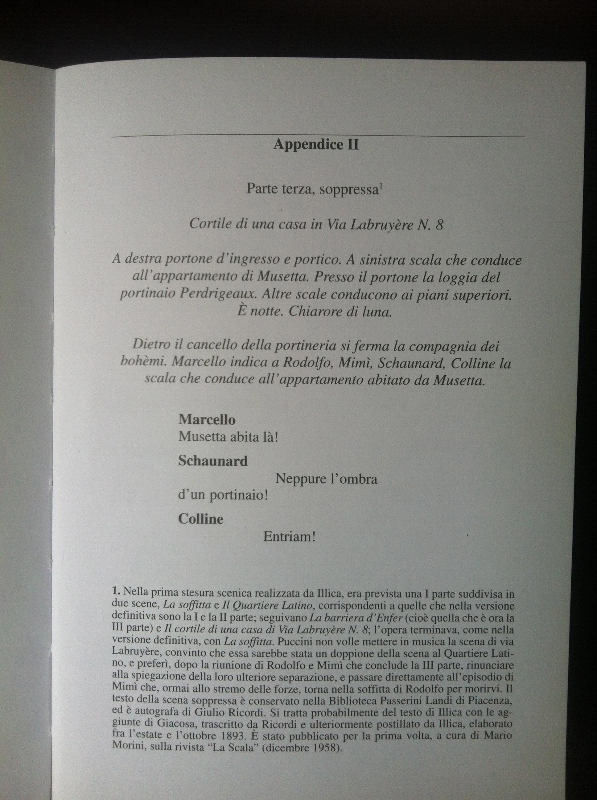 La bohème, libretto appendix, RIcordi, 2001