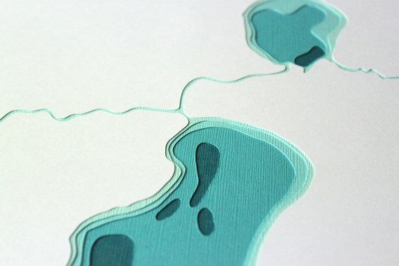 Lake Nokomis & Hiawatha - original 8 x 10 papercut art ($40 on Etsy)