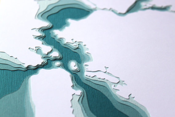 San Francisco Bay - original 8 x 10 paper cut ($40 on Etsy)