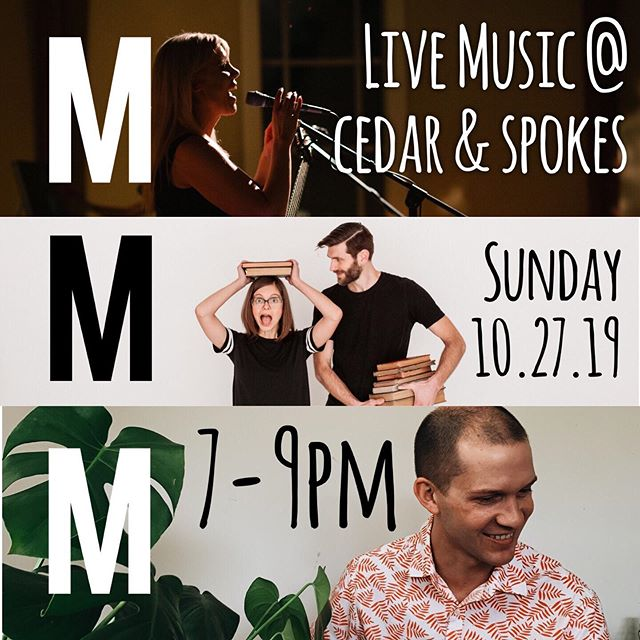 Teaming up with musicians @out_of_micah & @mnelch to play a concert at @cedarandspokes !! Can't wait for this Sunday night! 7-9pm