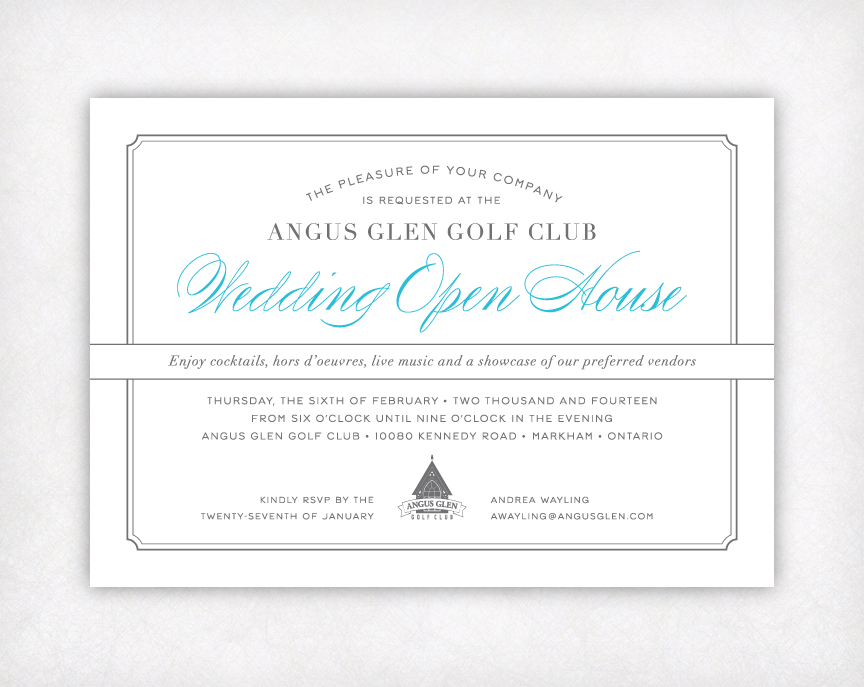 Angus Glen Golf Club Wedding Show Invitation