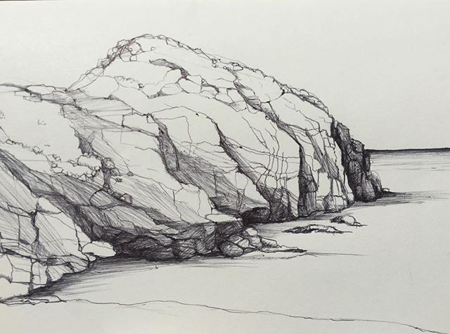 My little sketch of the little mountain cove at @hotelsancristobal ... can I please go back?