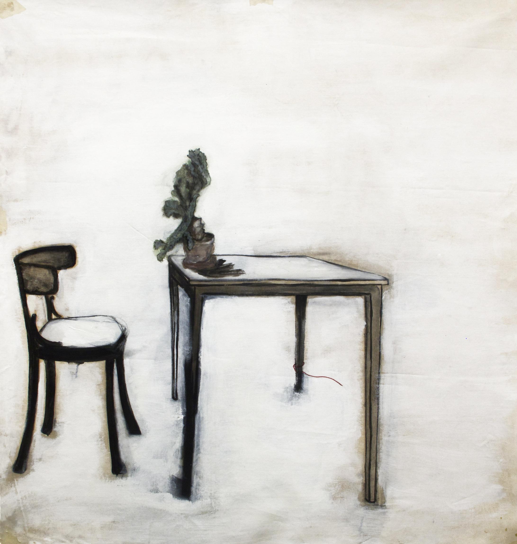 Table, Acrylic paint on canvas, 123 x 126 cm