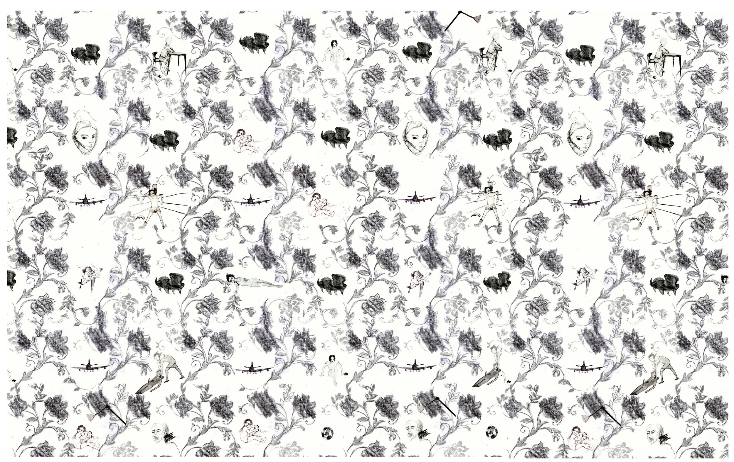 Wall Paper (A Tribute to Basma Al Khatib and Roald Dahl), mixed media on paper, 300 x 470 cm, 2012