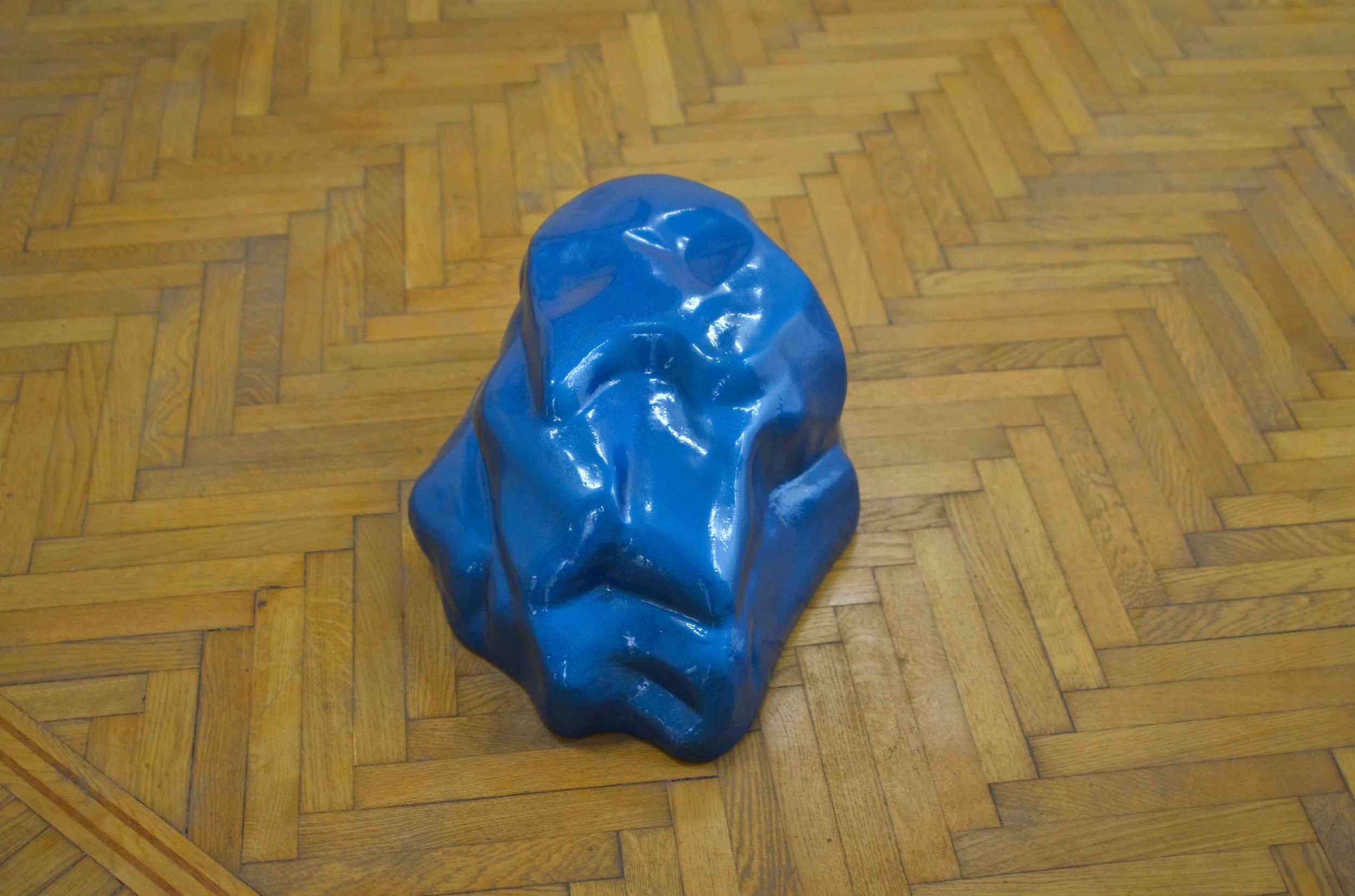 Malak Helmy, A salt rock exits a video and becomes a puddle of blue #1, fiberglass, 2013, 34 x 46 x 26 cm. Edition 1 of 4 + 2 AP