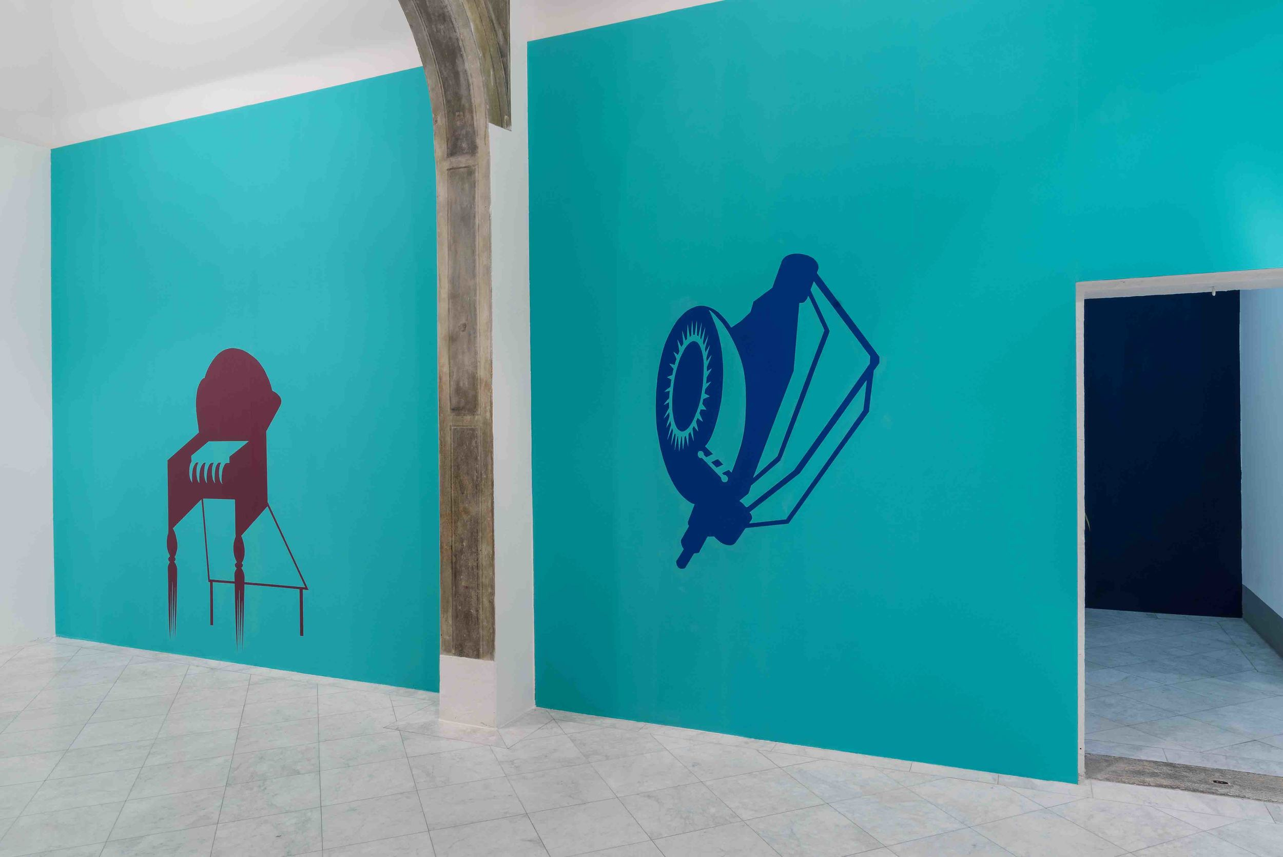 Mona Marzouk, Renovabitvr, acrylic colors, 2015. Installation view at Villa Romana. Photo credit:   Elzbieta Bialkowska.