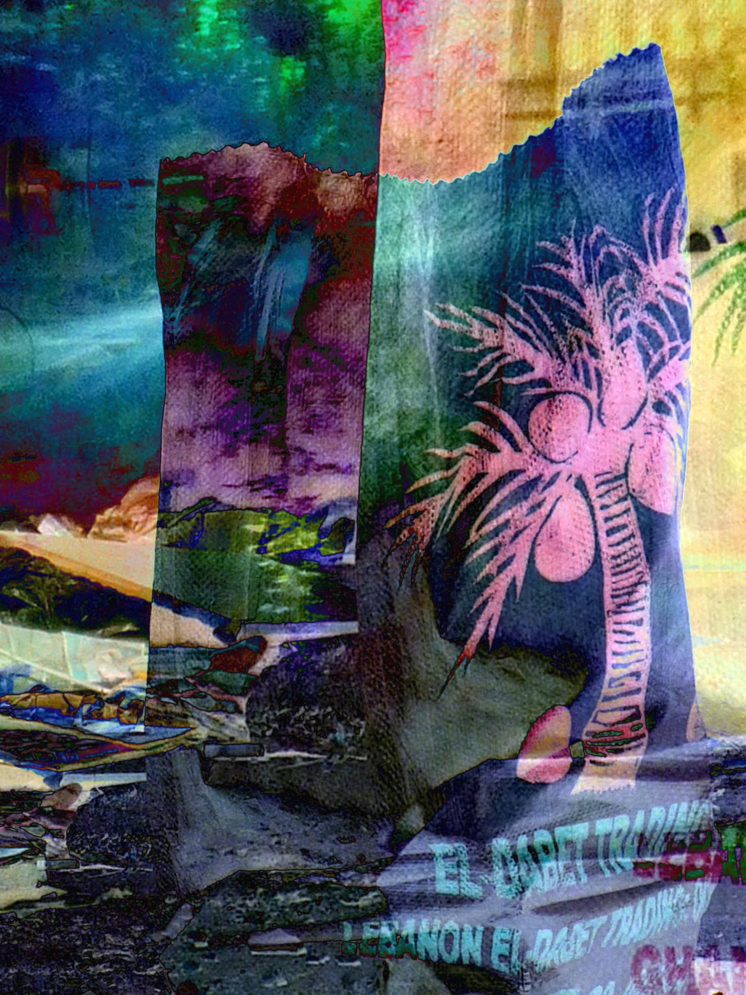 Something always Falls (Palm Tree Trading), Pigmented ink print on rice paper, 80 x 60 cm, 2015.
