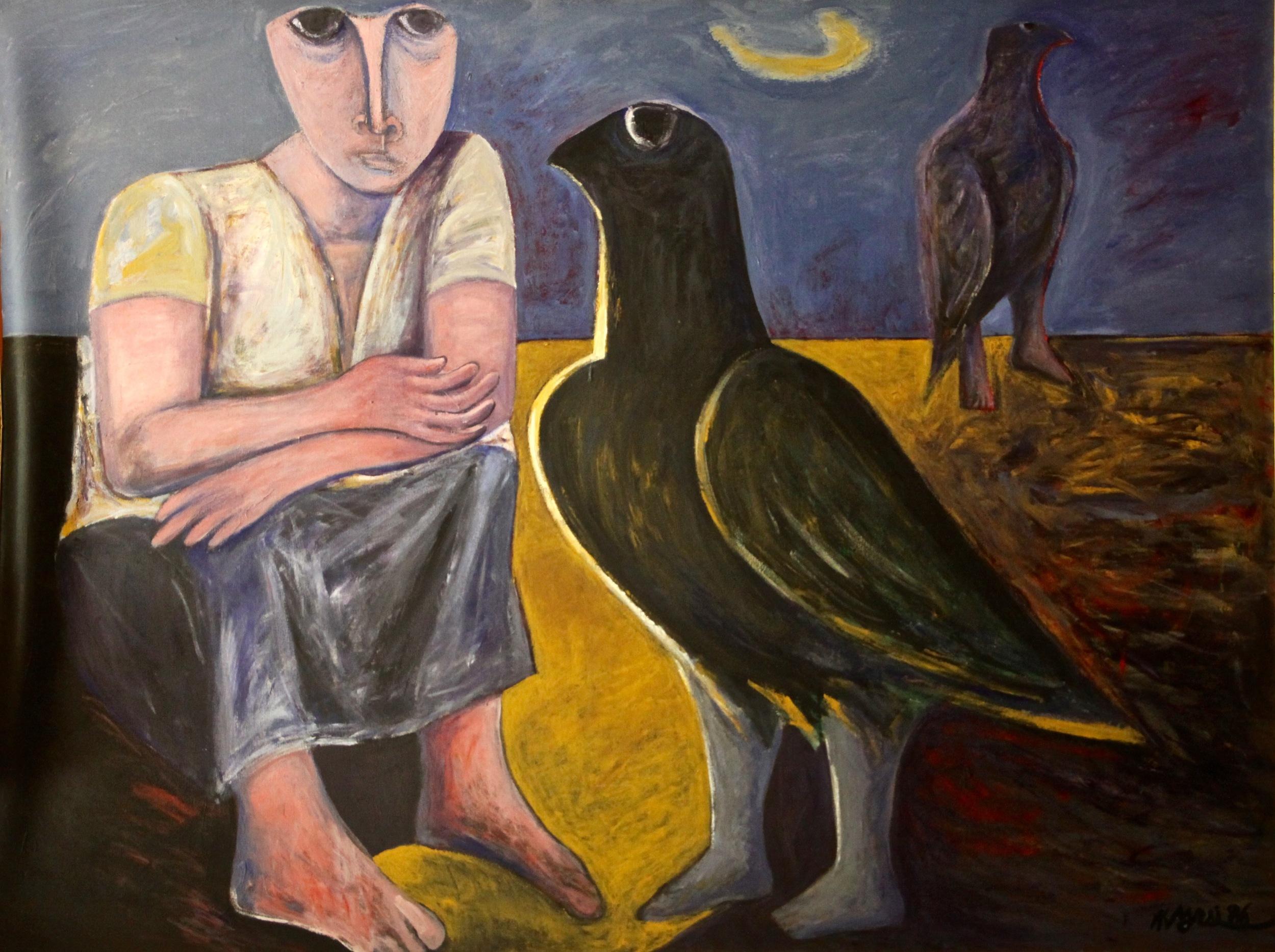 Ahmed Morsi,Black Bird II,1986,Acrylic on canvas,200 x 150 cm.