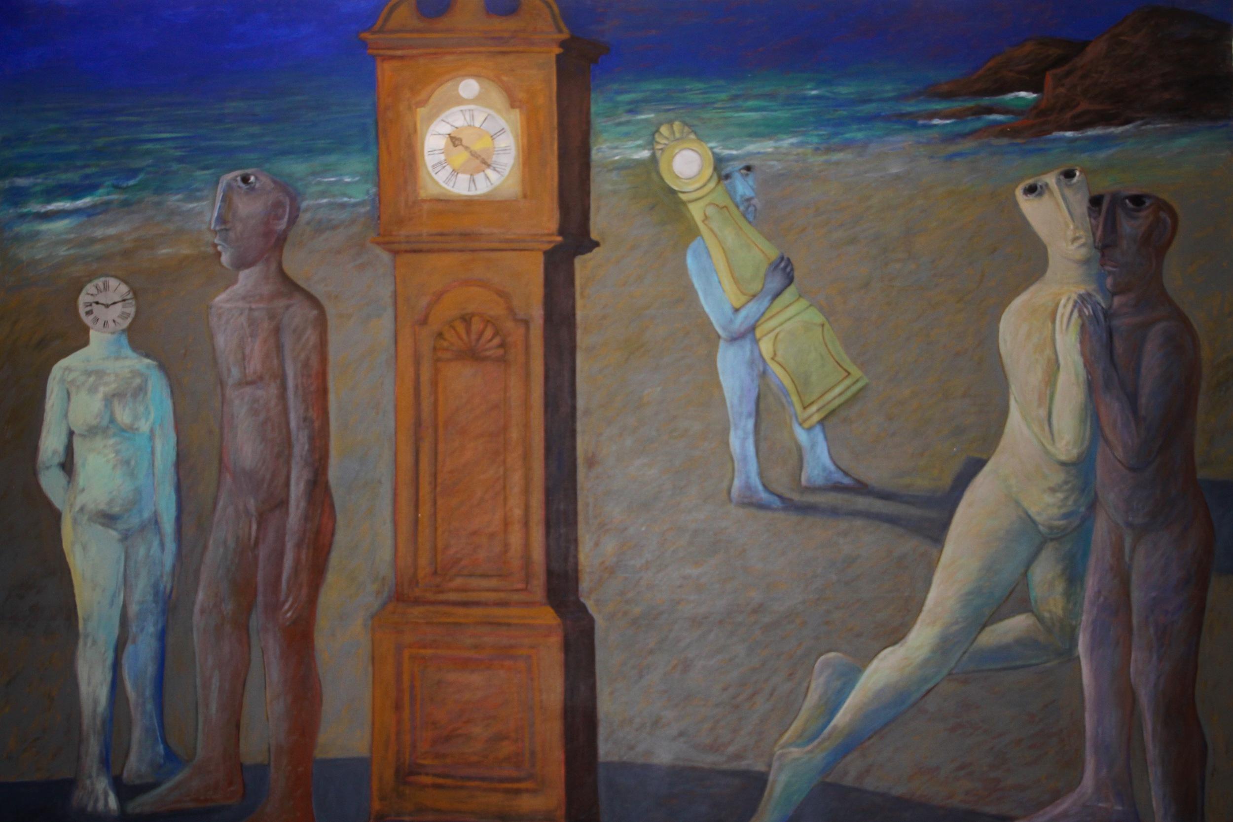 Ahmed Morsi,Clocks II,1998,Acrylic on canvas,305 x 209 cm.