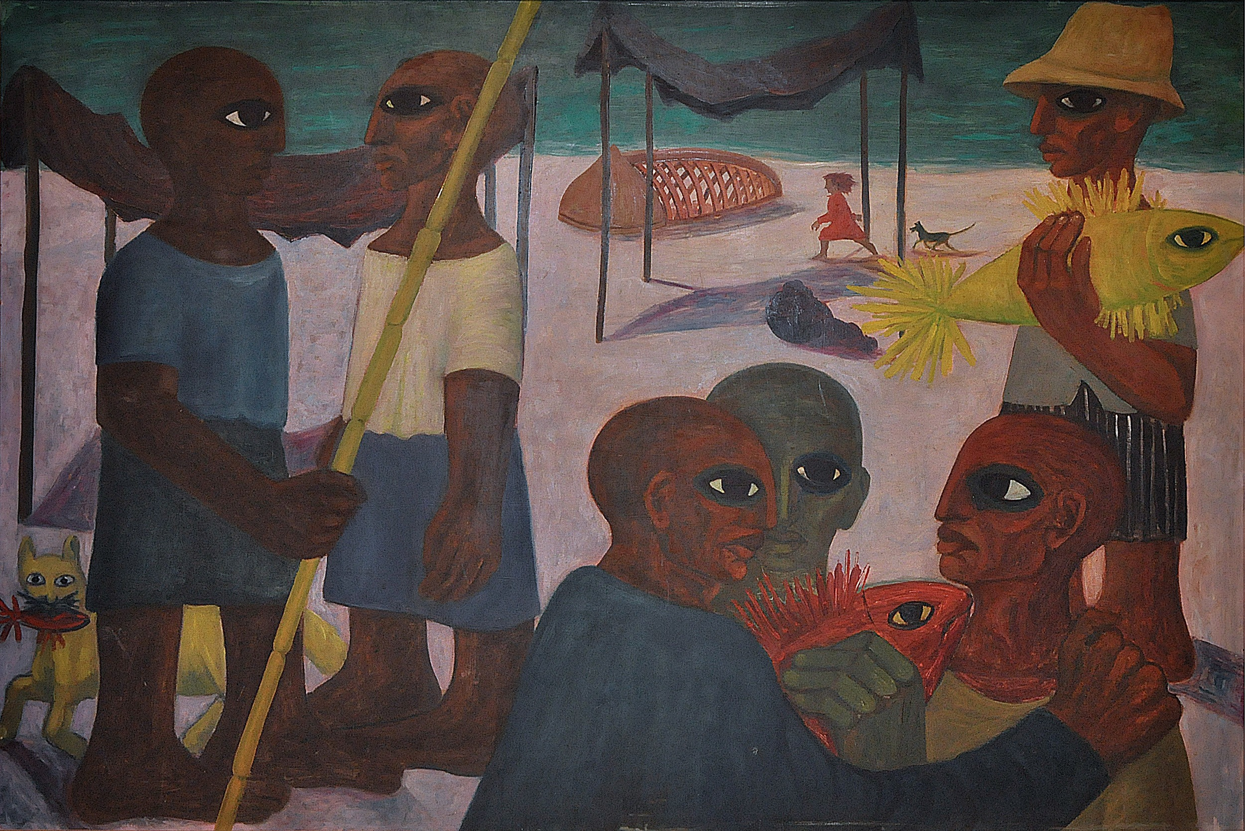 Ahmed Morsi, The Fishermen, 1956, Oil on wood, 150 x 100 cm, Mathaf: Arab Museum of Modern Art Collection.