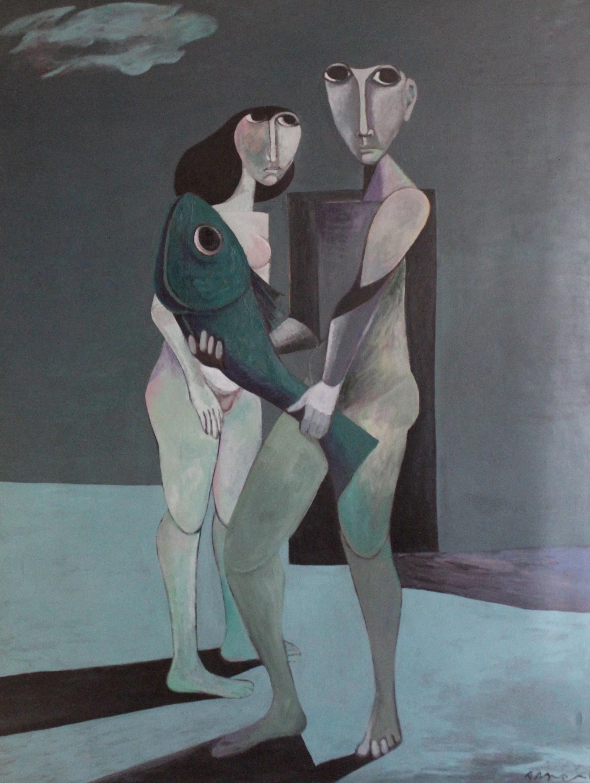Ahmed Morsi, Green fish, 1985, Acrylic on canvas, 200 x 155 cm.
