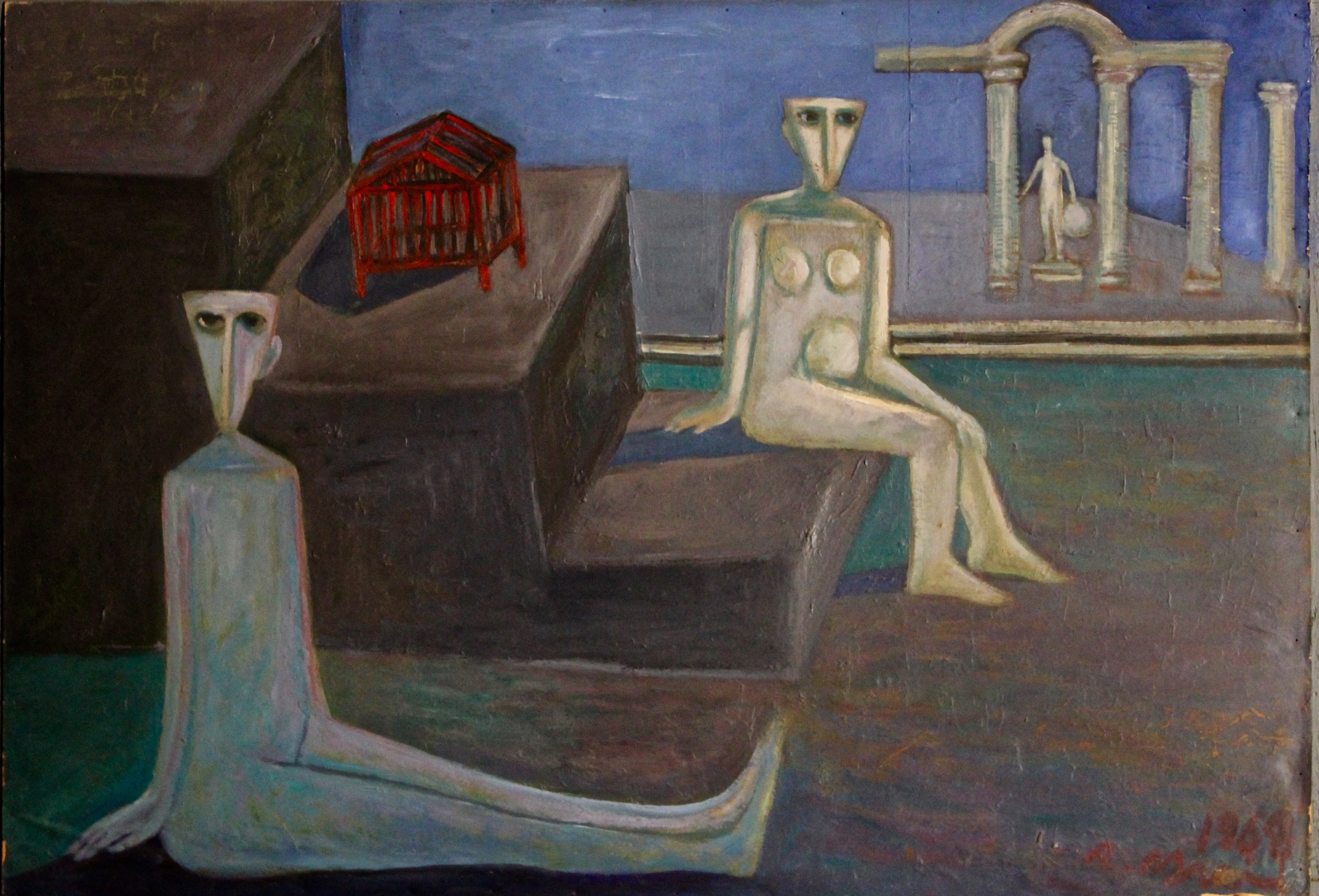 Ahmed Morsi, Red Cage, 1968, Oil on wood, 70 x 100 cm.