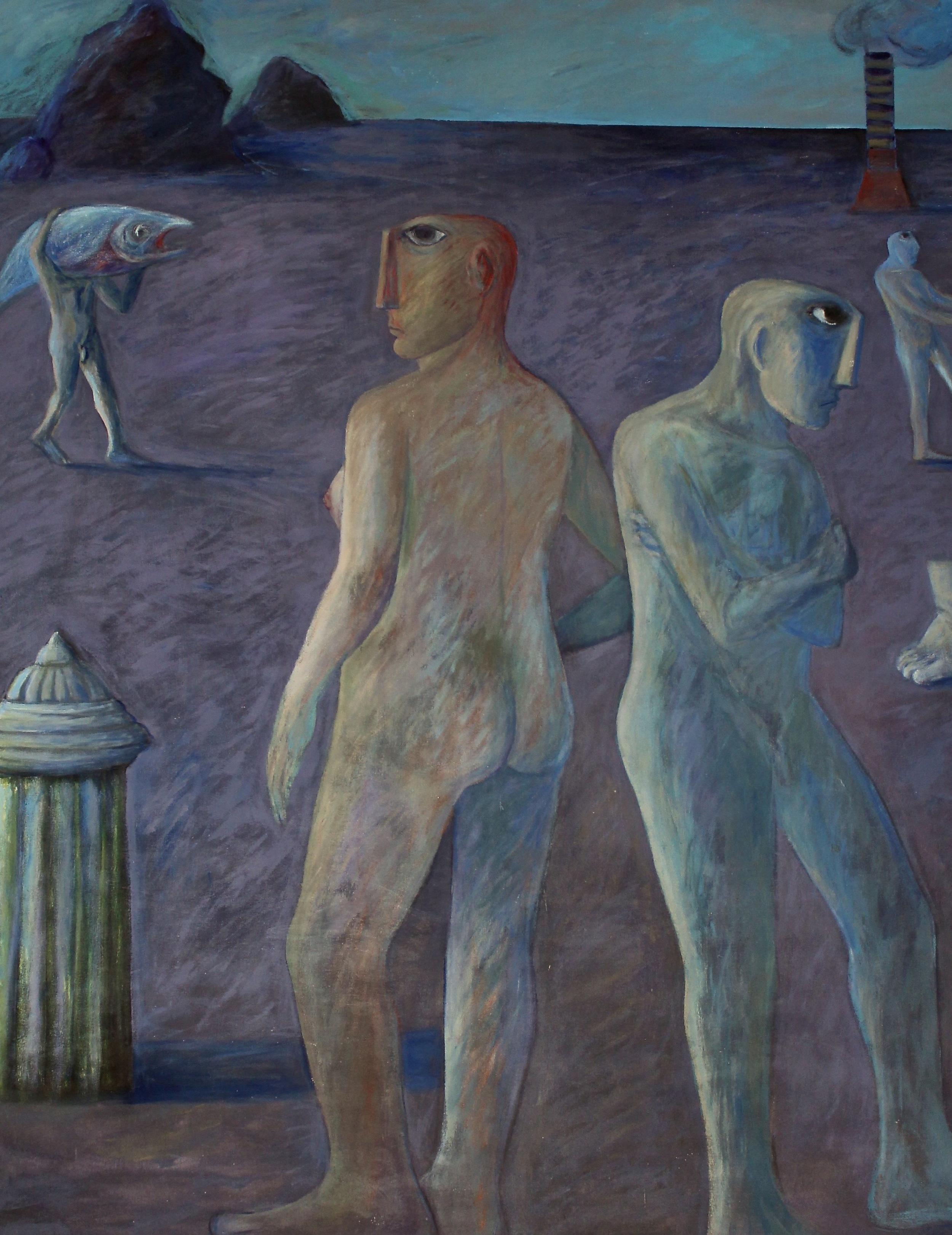 Ahmed Morsi, Seaside,1995,(diptych, detail)Acrylic on canvas,235 x 360 cm.