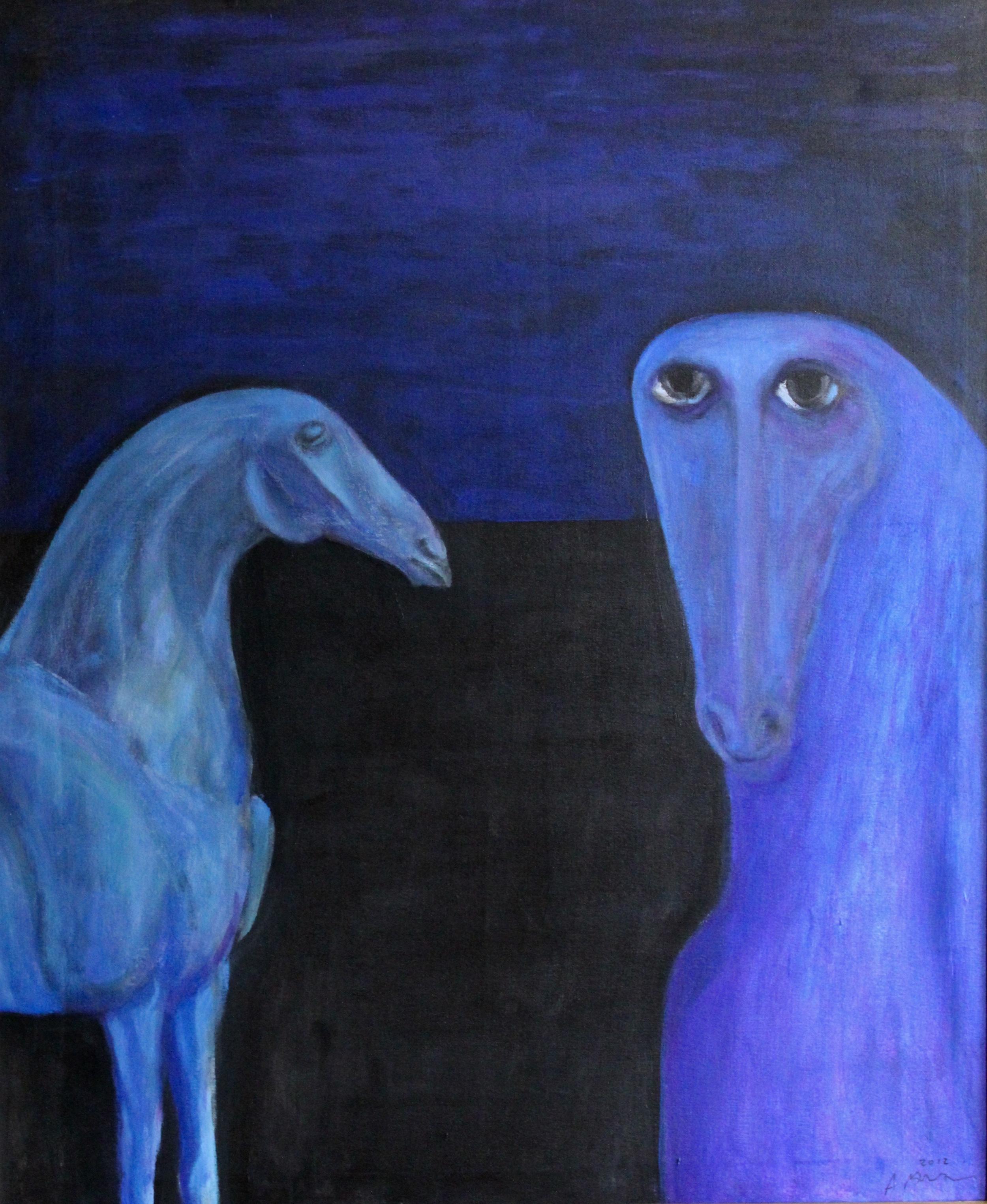 Ahmed Morsi, Silence, 2010, Acrylic on canvas, 92 x 77 cm.