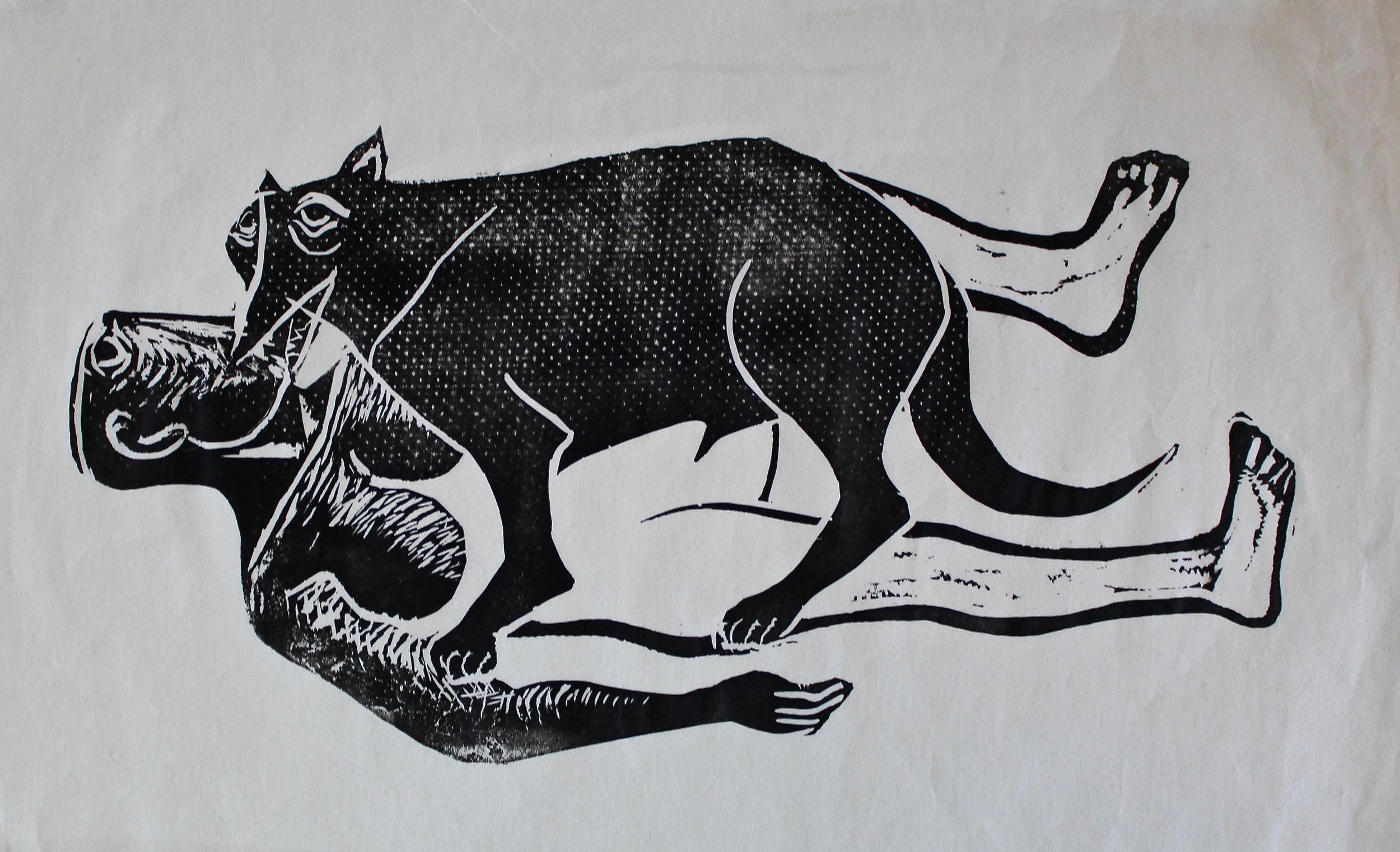 Ahmed Morsi,Beauty and the Beast Series,Linoleum cut,30 x 46 cm.