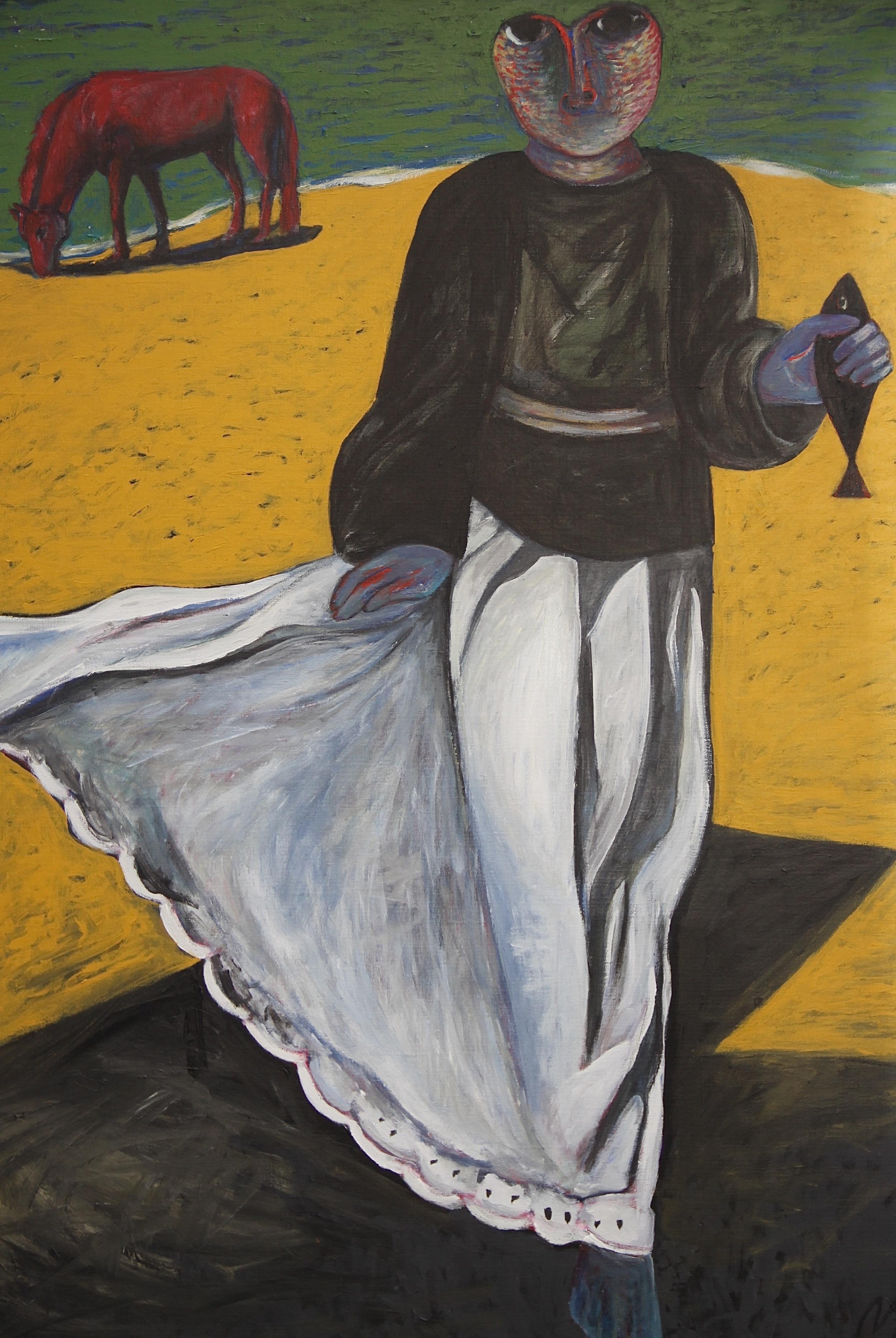 Ahmed Morsi, Black Fish,1984,Acrylic on canvas,152 x 132 cm.