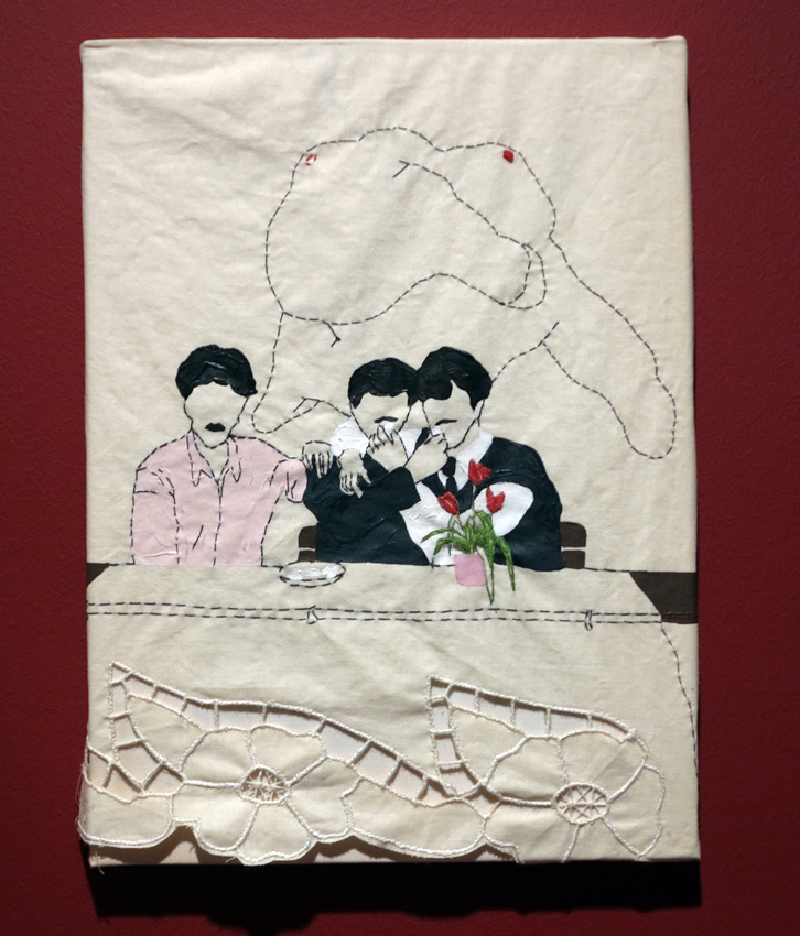 "Boys eat Turkish Delight, From the series ""Please c­lear the dance floor!"" 2010, Embroidery and painting on piece of curtain, 34 x 25 cm."