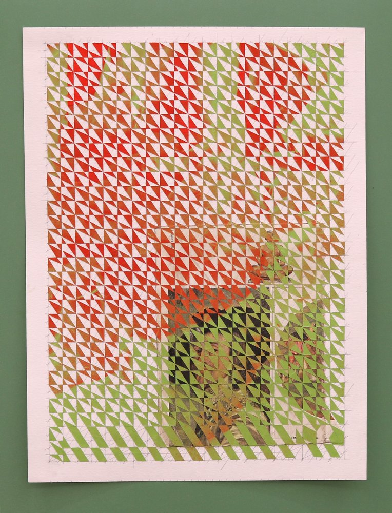 Untitled, part 1 (red, green), 2016, spray paint on paper collage, book page on paper mounted on plastic laminate,20 x 30 cm.