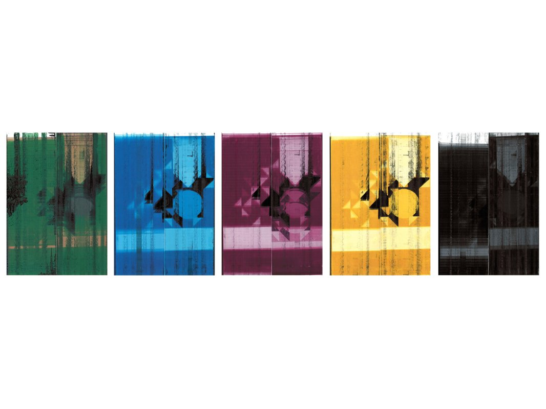 Full color, C,M,Y,K series from Springjourneyhealthhajjdilemmaolivetouchinternationalorganizationsunitedstatesjournalism. This is one set of five from a series of 6 sets, each set comprises 5 separate pieces, 2013, Inkjet on coated paper using modified printer,29 cm x 42 cm.